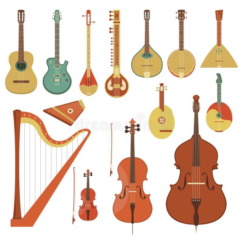 Stringed musikinstrument stock illustrationer
