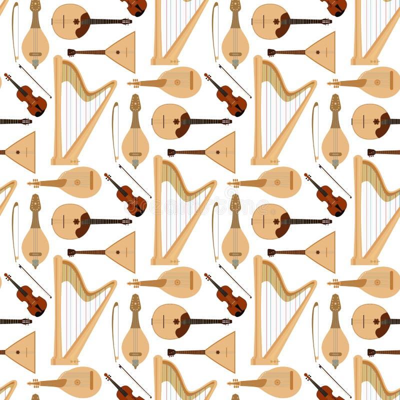 Stringed träumte des Orchesterkunsttonwerkzeugs der Musikinstrumente nahtlosen Musterhintergrund der klassischen Symphonie akusti vektor abbildung