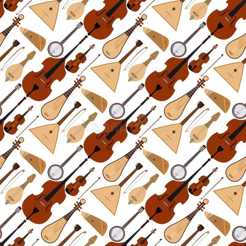 Stringed träumte des Orchesterkunsttonwerkzeugs der Musikinstrumente nahtlosen Musterhintergrund der klassischen Symphonie akusti lizenzfreie abbildung