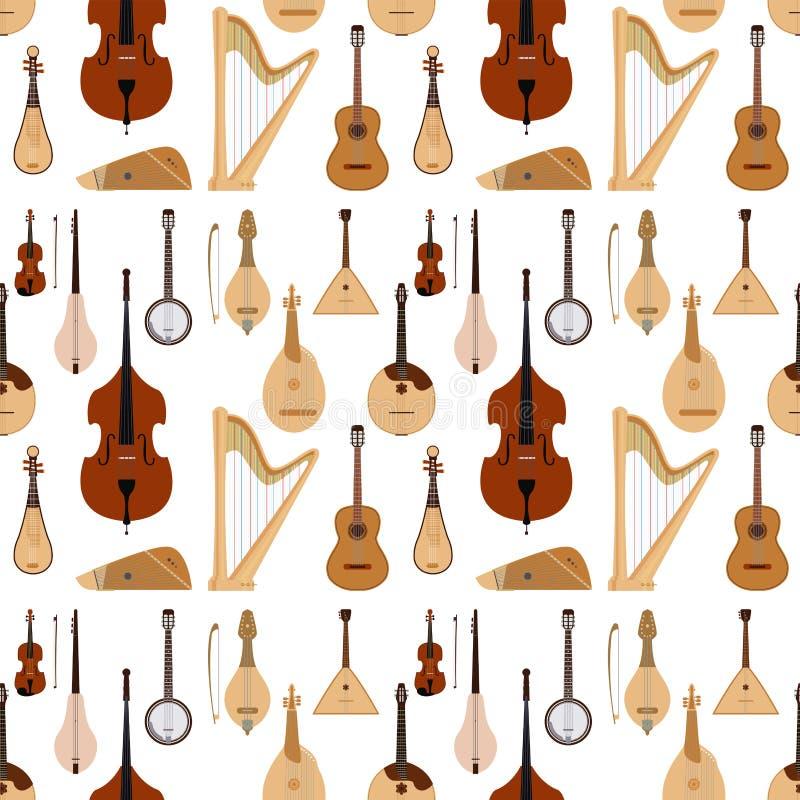 Stringed träumte des Orchesterkunsttonwerkzeugs der Musikinstrumente nahtlosen Musterhintergrund der klassischen Symphonie akusti stock abbildung