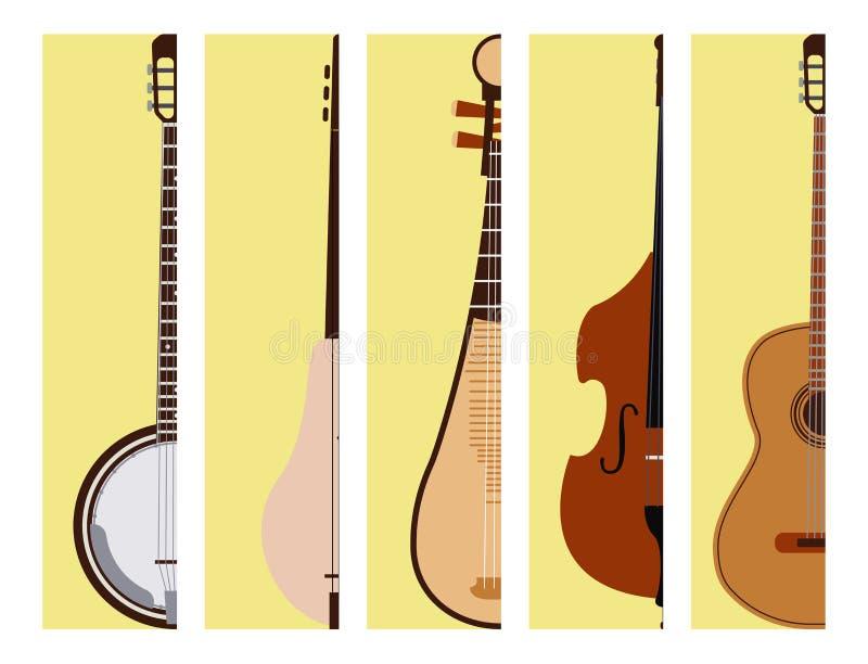 Stringed träumte die hölzerne Orchesterkunst-Tonwerkzeug der Musikinstrumentkarten klassisches und akustische Symphoniegeige lizenzfreie abbildung