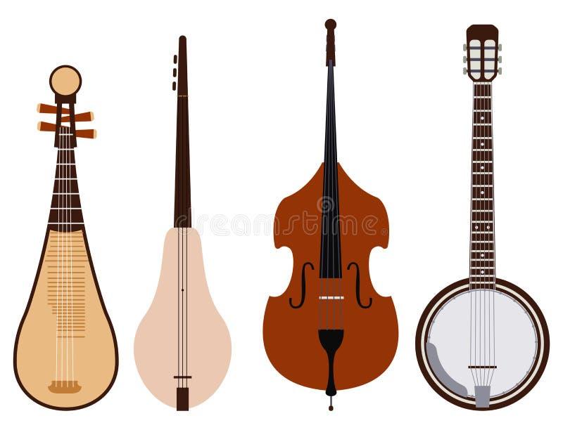 Stringed träumte Orchesterkunst-Tonwerkzeug der Musikinstrumente klassisches und hölzerne Ausrüstung der akustischen Symphoniegei lizenzfreie abbildung