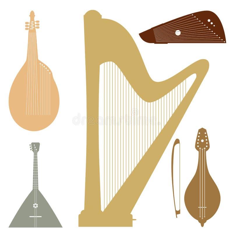 Stringed träumte Orchesterkunst-Tonwerkzeug der Musikinstrumente klassisches und hölzerne Ausrüstung der akustischen Symphoniegei vektor abbildung