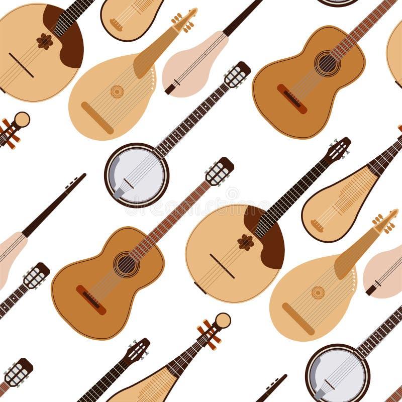 Stringed tr?umte des Orchesterkunsttonwerkzeugs der Musikinstrumente nahtlosen Musterhintergrund der klassischen Symphonie akusti vektor abbildung