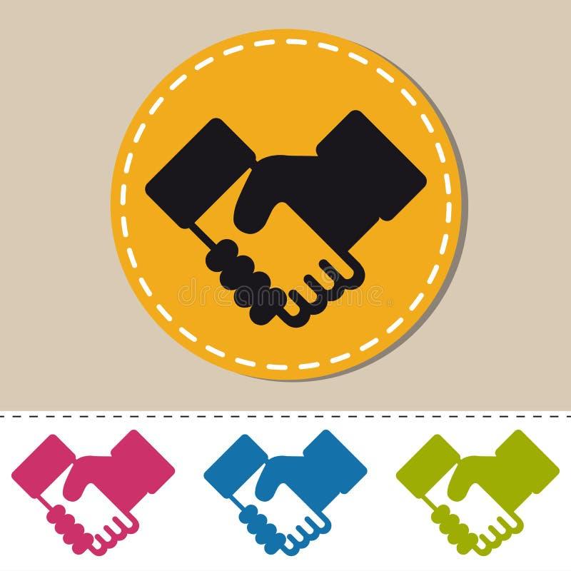 Stringendo le mani - illustrazione variopinta di vettore di affari - isolate su fondo monocromatico illustrazione di stock