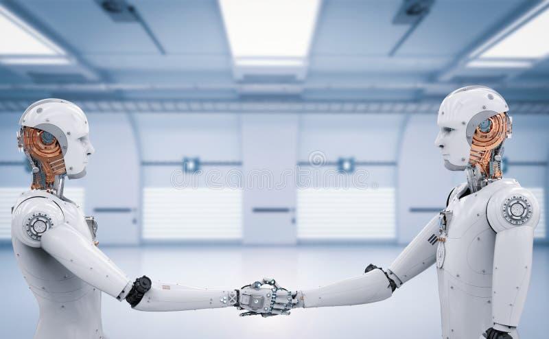 Stringere della mano del robot di Android fotografie stock