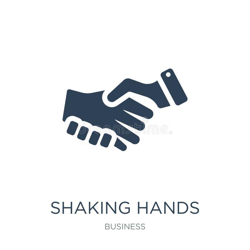 stringere l'icona delle mani nello stile d'avanguardia di progettazione Stringendo l'icona delle mani isolata su fondo bianco str illustrazione vettoriale