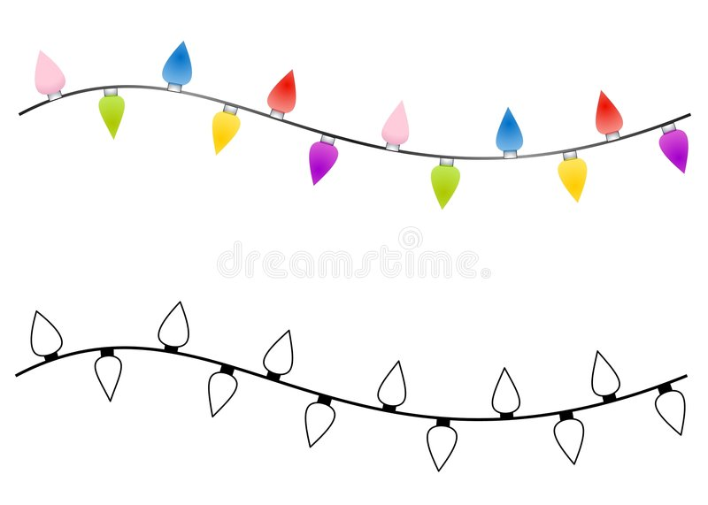 Strings of Christmas Lights. An illustration featuring your choice of simple Christmas lights in color and black and white vector illustration