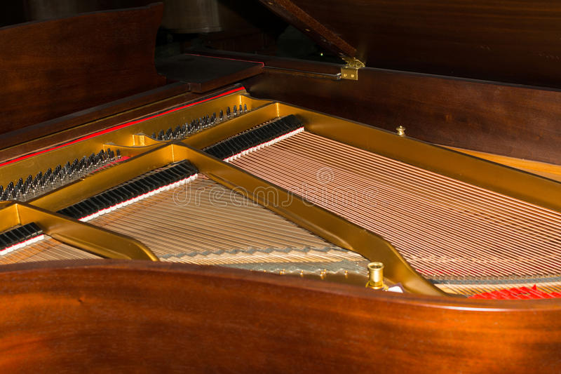 Strings of Pianos. Close-up of Strings of Pianos royalty free stock photos