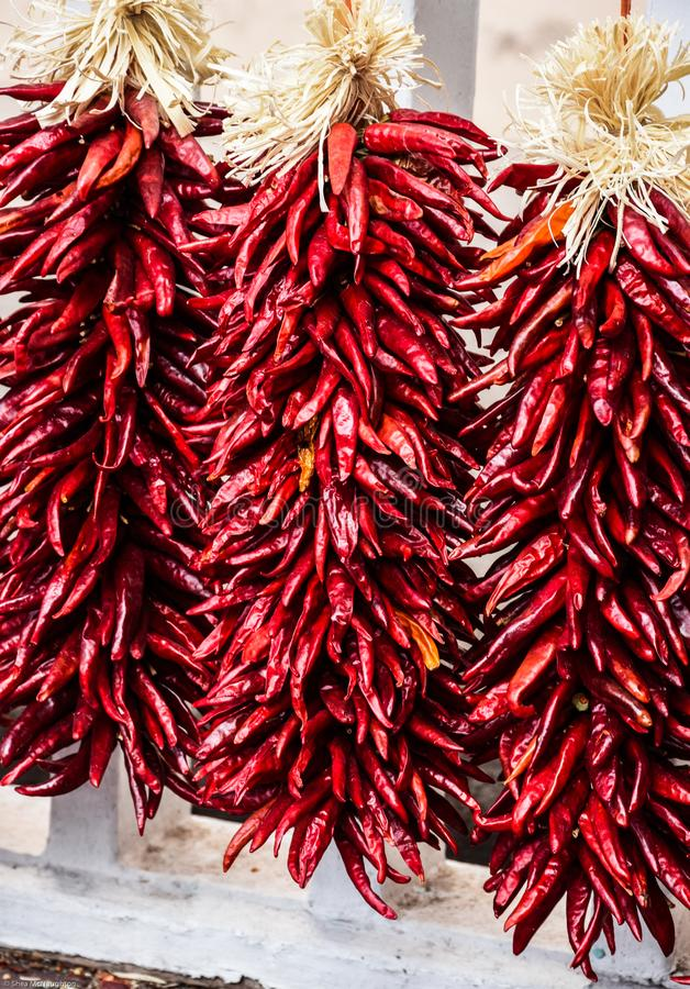 Strings of red chili pepper ristras in Santa Fe, New Mexico royalty free stock images