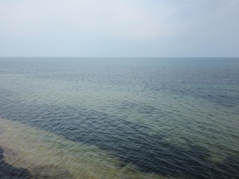 Strip of brown algae in the Black Sea off the coast. Aerial view. Cloudy evening at sea. Atmospheric beautiful natural background. Horizontal photo royalty free stock photography