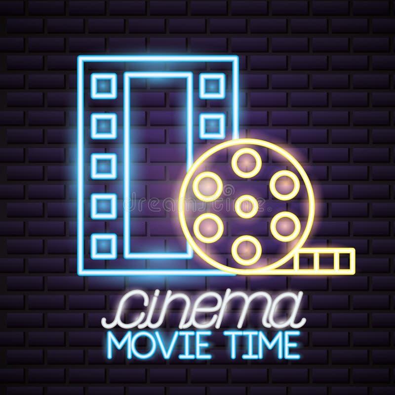 Movie time neon. Strip film reel movie time neon vector illustration royalty free illustration