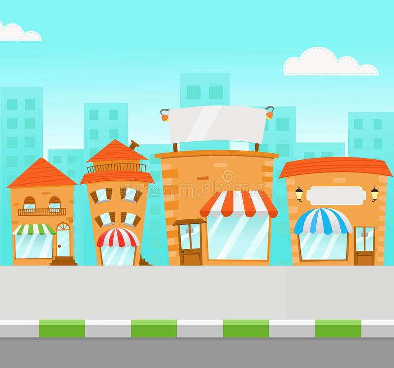 Strip Mall. Illustration of a strip mall vector illustration