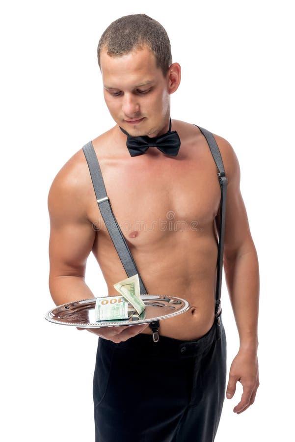Strip-teaseuse et une grande astuce, portrait photo stock
