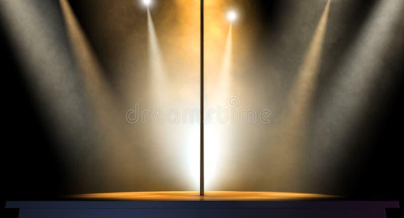 Strip-teaseuse Pole Spotlit photo stock