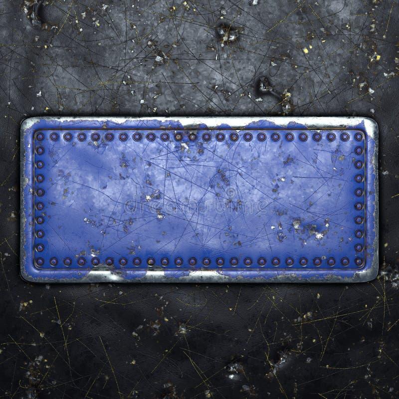 Strip van metaal met in het midden een rechthoek geschilde rivieren die blauw zijn geverfd op een achtergrond van zwart metaal 3d stock afbeelding