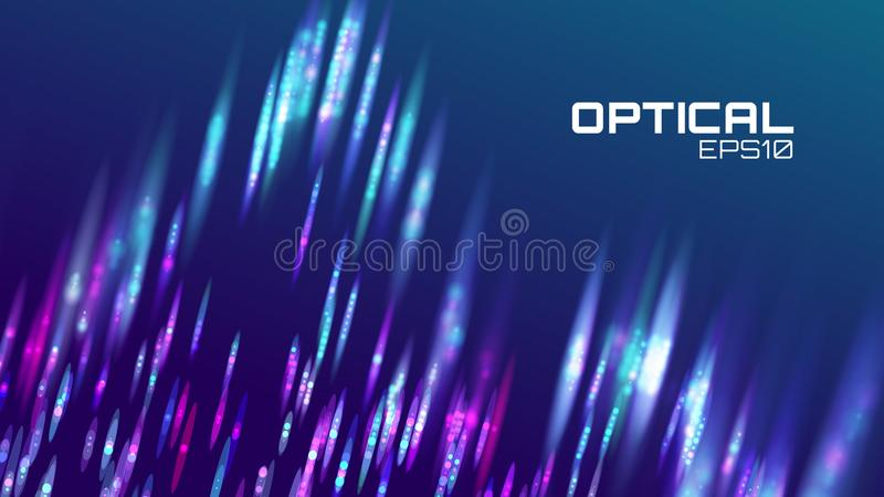 Stripe abstract background. Lens bokeh neon motion. Digital wave vector illustration
