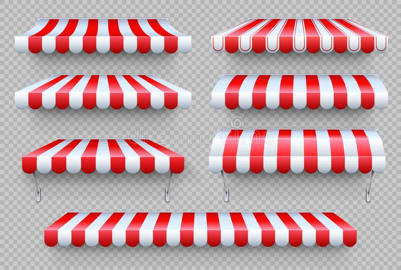 Stripe awning. Cafe tent, shop roof. Canopy sunshade for store window, outdoor market awnings vector set stock illustration