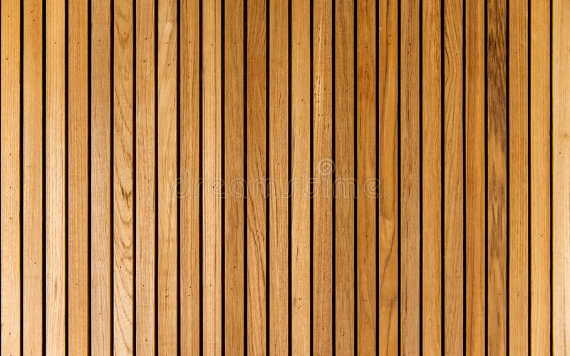 Stripe lath brown wood pattern wall. Texture background stock image