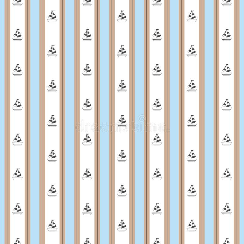 Stripe nautical blue brown with boat pattern royalty free illustration