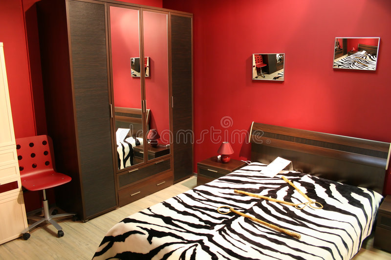 Stripe red bedroom stock images