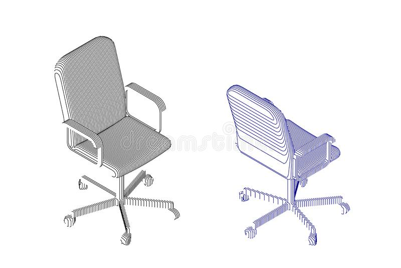 Striped стул офиса иллюстрация контура вектора бесплатная иллюстрация
