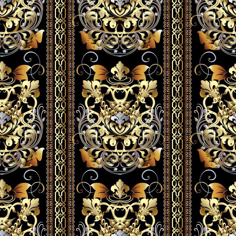 Striped барочная безшовная картина Wallp предпосылки вектора флористическое иллюстрация штока