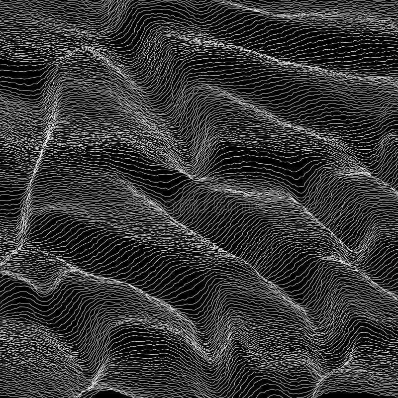 Striped вектором предпосылка серой шкалы Абстрактная линия волны Колебание звуковой войны В стиле фанк завитые линии Элегантное в бесплатная иллюстрация