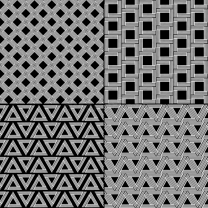 Striped картина форм геометрическая безшовная установила в черно-белое, вектор иллюстрация штока
