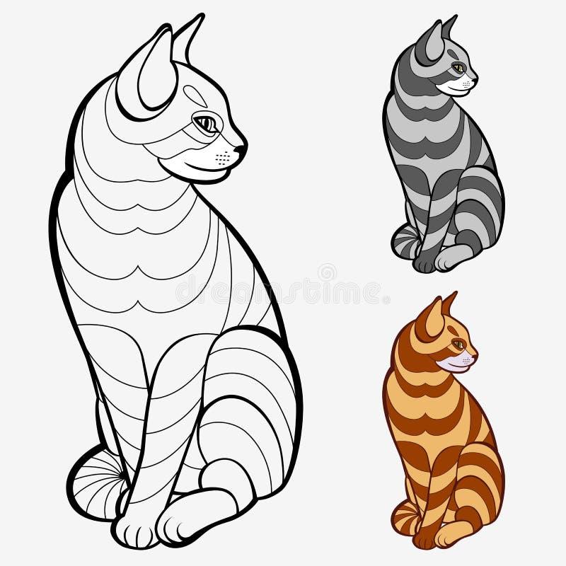 striped кот иллюстрация вектора