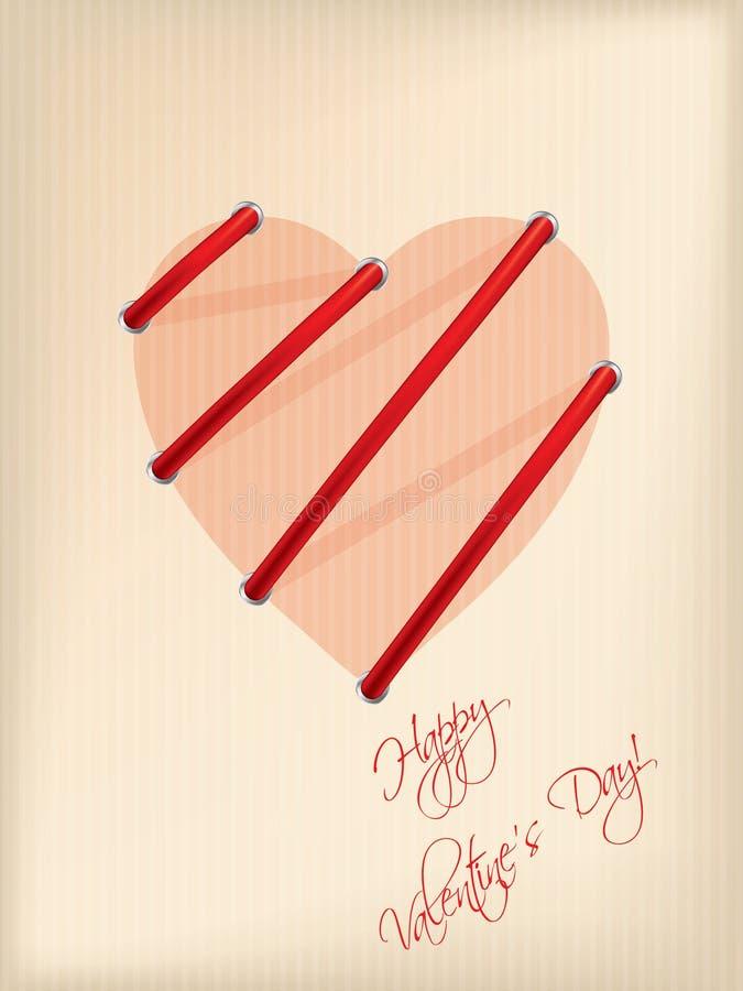 Striped поздравительная открытка дня Валентайн иллюстрация вектора