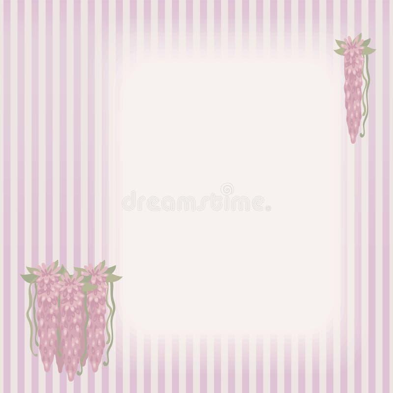 Striped ретро винтажная карточка с составом букетов розовый пропускать цветет на левой стороне и в верхнем угле с зеленым пастбищ иллюстрация штока