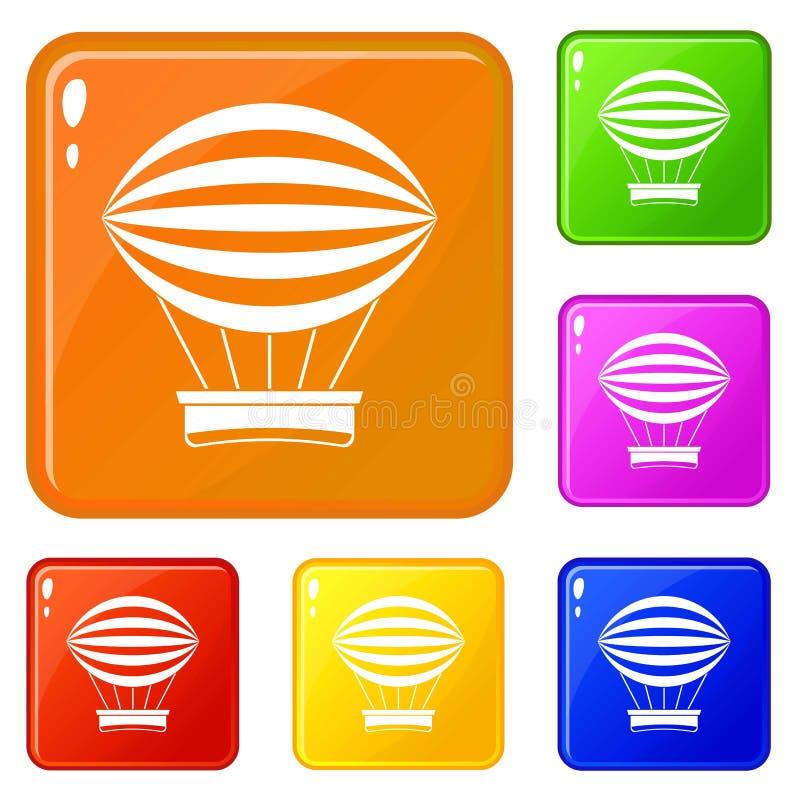 Striped ретро горячий цвет вектора значков воздушного шара установленный иллюстрация вектора