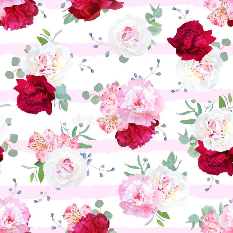 Striped роскошью флористическая безшовная печать вектора с пионом, alstroem иллюстрация штока
