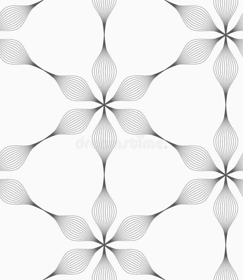 Striped серое 6 цветкам педали абстрактным иллюстрация штока