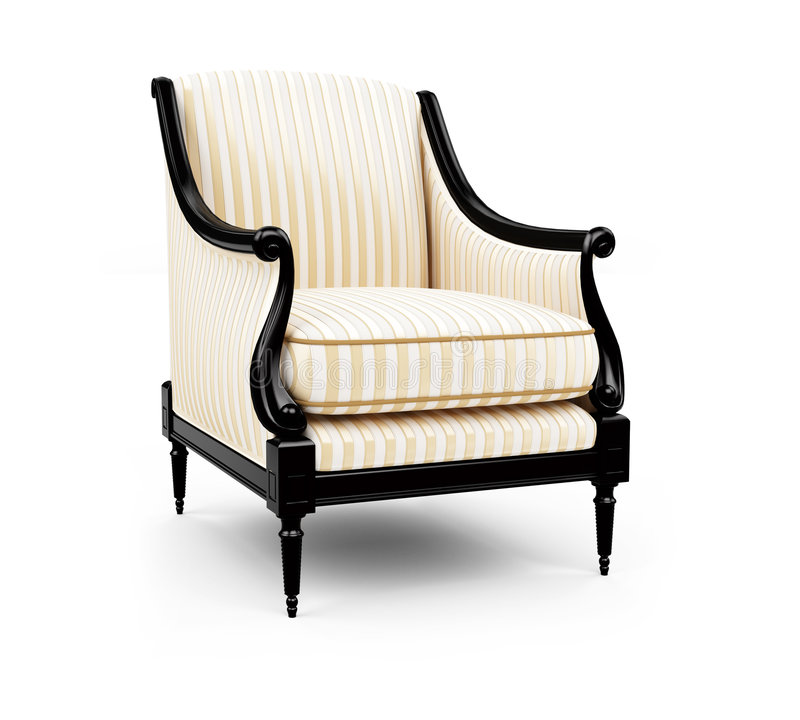Striped armchair against white royalty free illustration