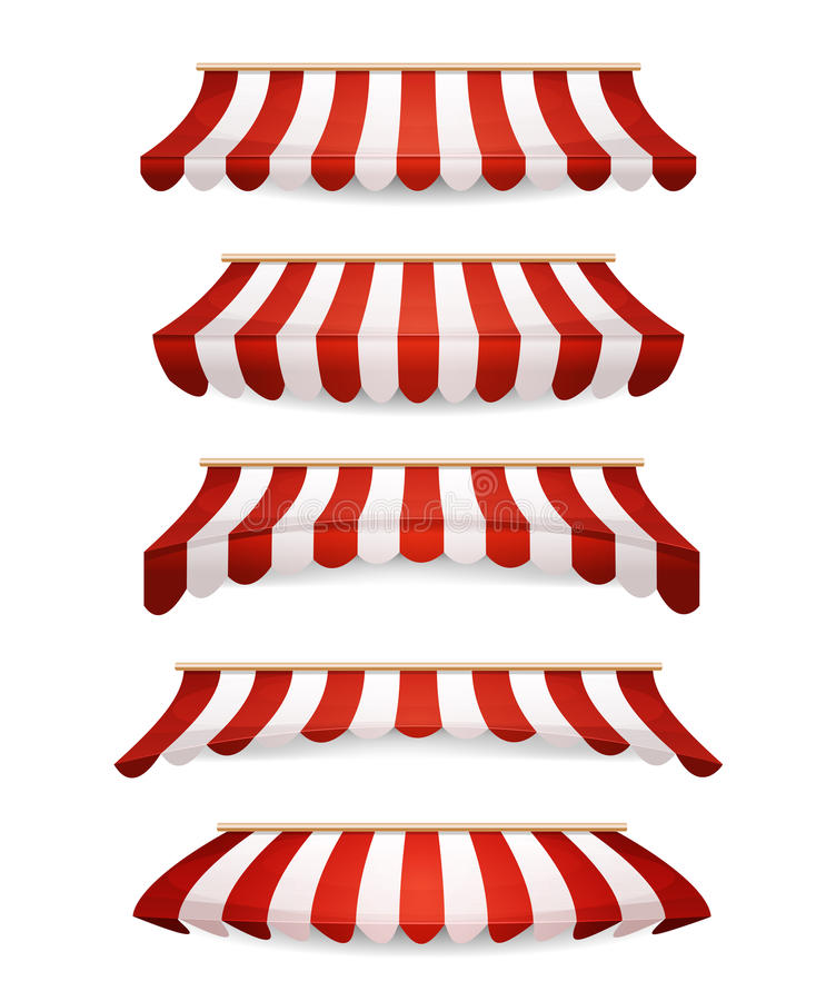 Striped Awnings For Market Store stock illustration