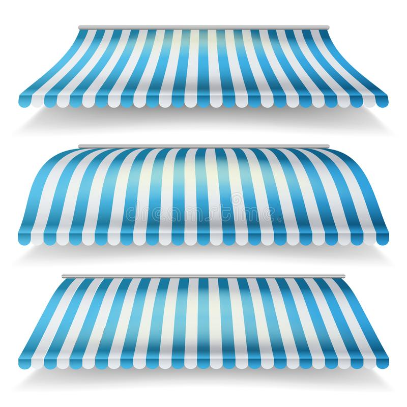 Awnings Vector Set. Different Forms. Italian Awning Striped For Market Store. Isolated Illustration stock illustration