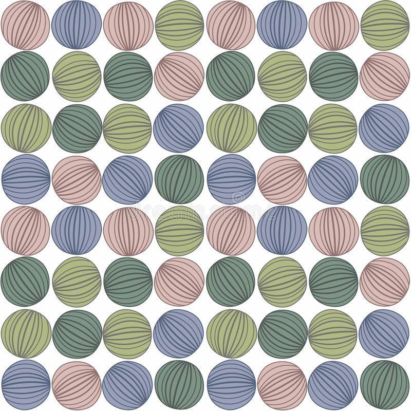 Striped Balls Seamless Background stock illustration