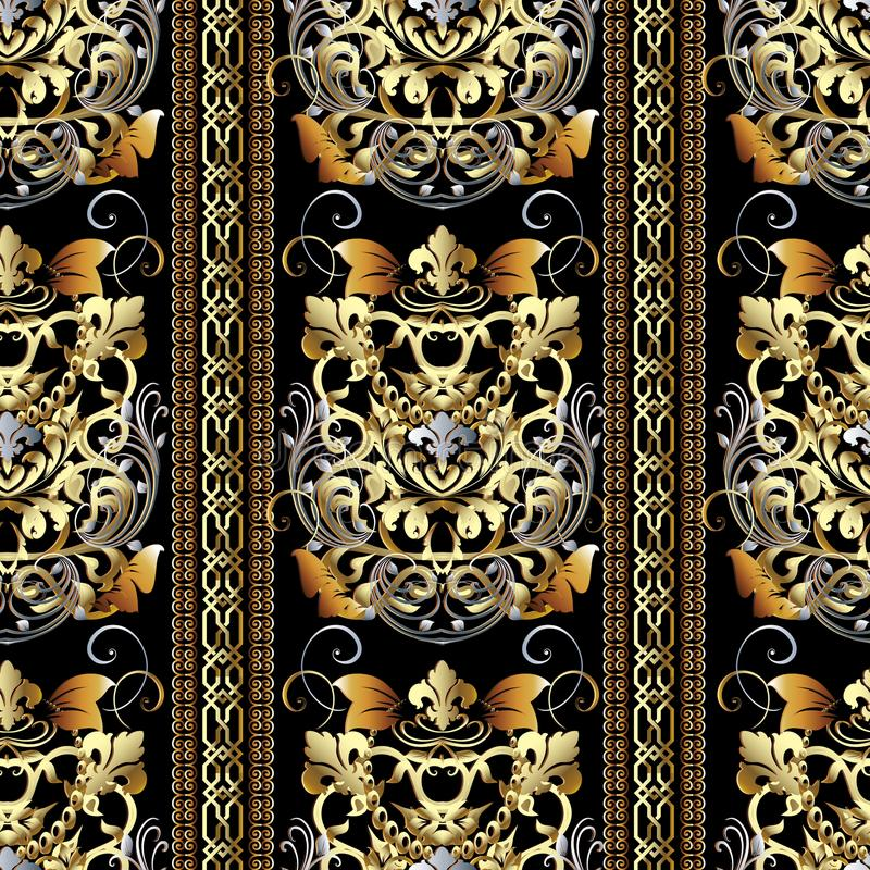 Striped Baroque seamless pattern. Vector floral background wallpaper with gold 3d vertical stripes, borders, damask. Flowers, leaves, swirls, lines, vintage old stock illustration