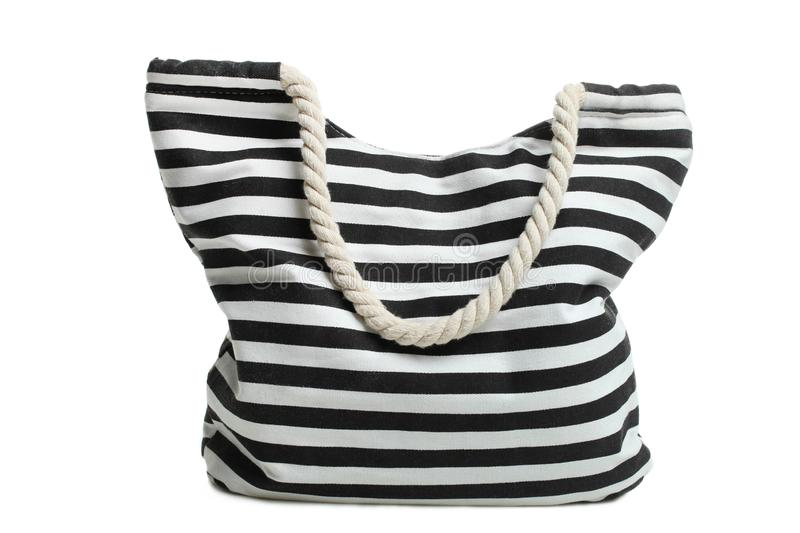 Striped beach bag isolated royalty free stock photography