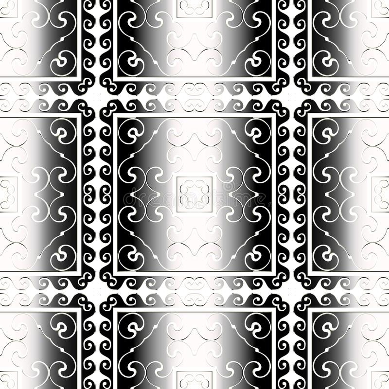 Striped black and white vintage vector seamless pattern. Ornamental greek gradient background. Abstract repeat grid. Backdrop. Elegant geometric ornament with vector illustration