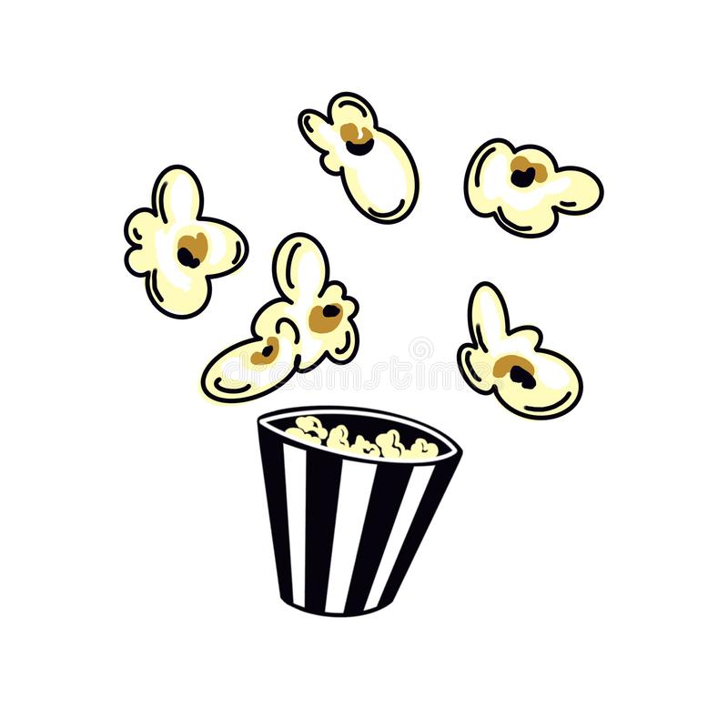 Striped box container with delicious popcorn on white background. royalty free illustration