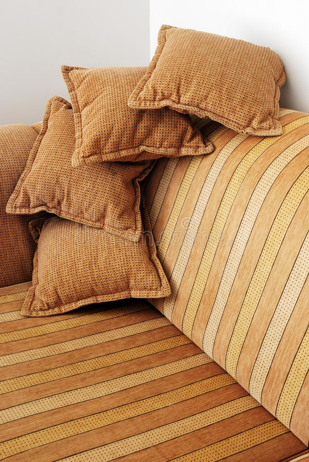 Download Striped Brown Sofa And Four Pillows Stock Image - Image: 33329071