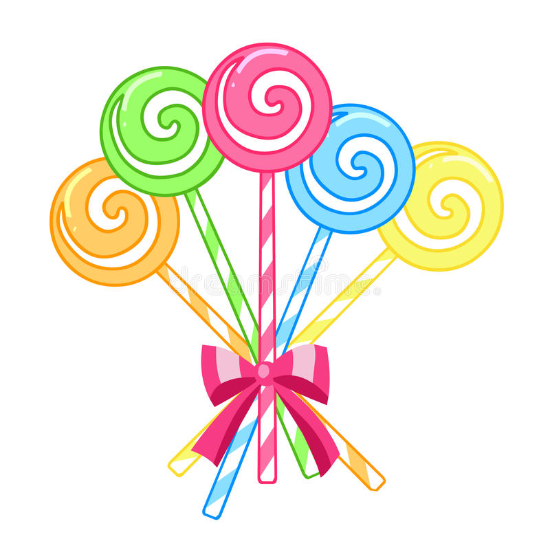 Striped candy lollipops royalty free illustration