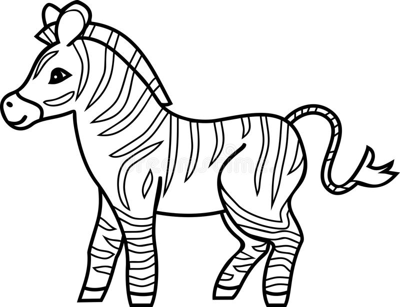Striped Cartoon Zebra Coloring Page Stock Vector - Illustration Of Zebra,  Flat: 124941096