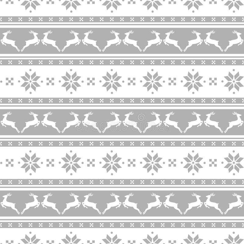 Striped christmas pattern with deers. Vector seamless background stock illustration