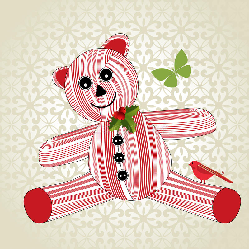 Free Striped Christmas Teddy Bear Royalty Free Stock Photography - 32698517