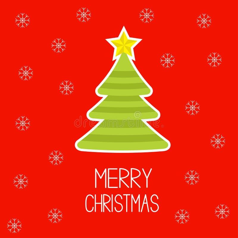 Striped Christmas tree with snowflakes. Merry Chri