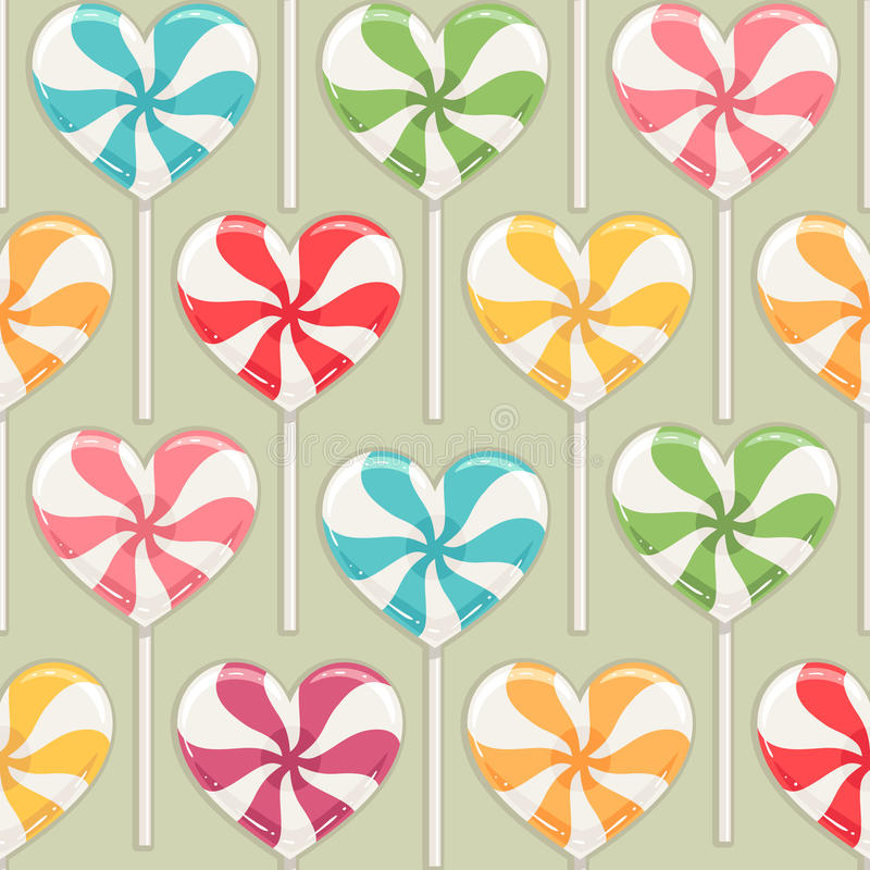 Striped color candy hearts vector illustration